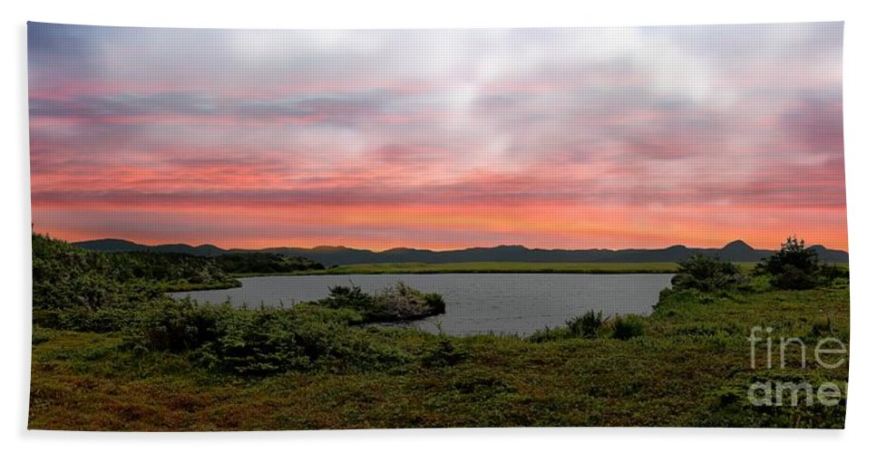 Little Pond Near The Ocean Panorama Hand Towel featuring the photograph Little Pond Near The Ocean Panorama by Barbara Griffin