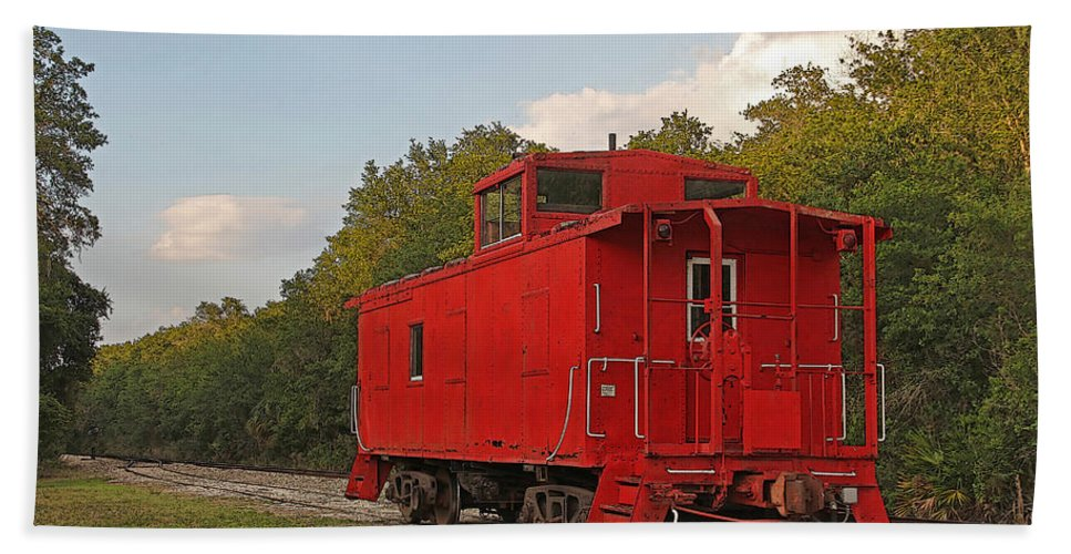 Train Bath Sheet featuring the photograph Little Red Caboose by HH Photography of Florida