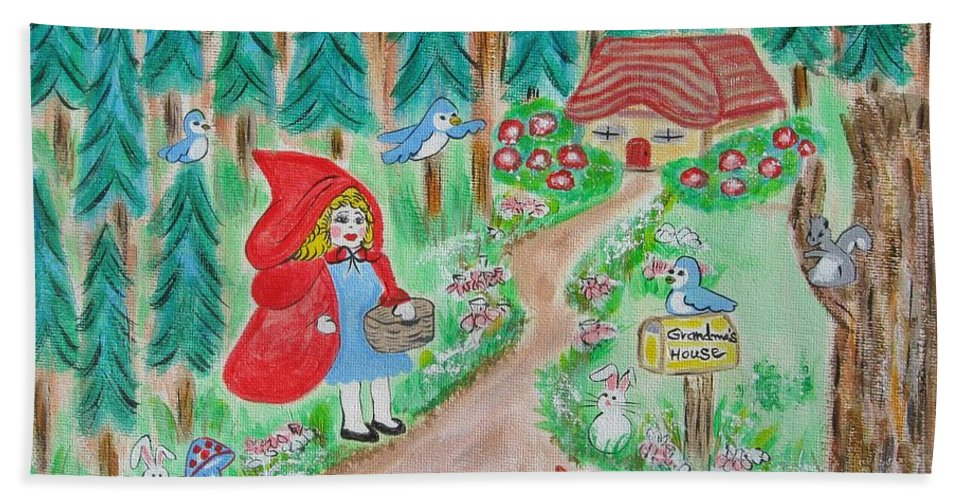 Little Red Riding Hood Hand Towel featuring the painting Little Red Riding Hood With Grandma's House On Mailbox by Diane Pape