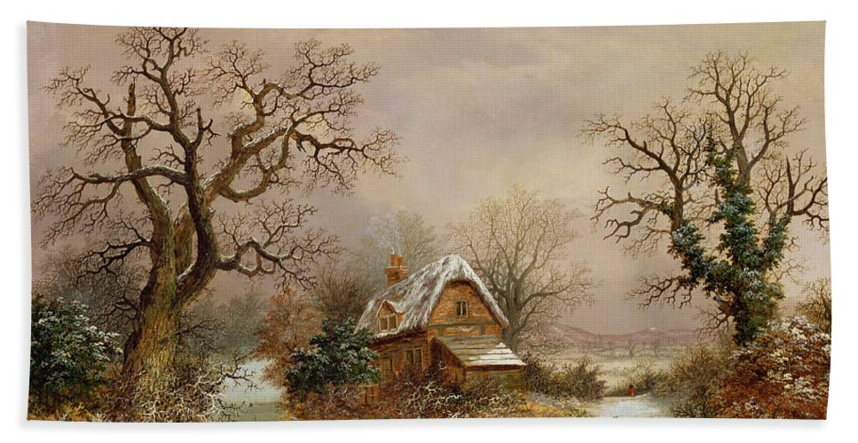 Story Hand Towel featuring the painting Little Red Riding Hood In The Snow by Charles Leaver
