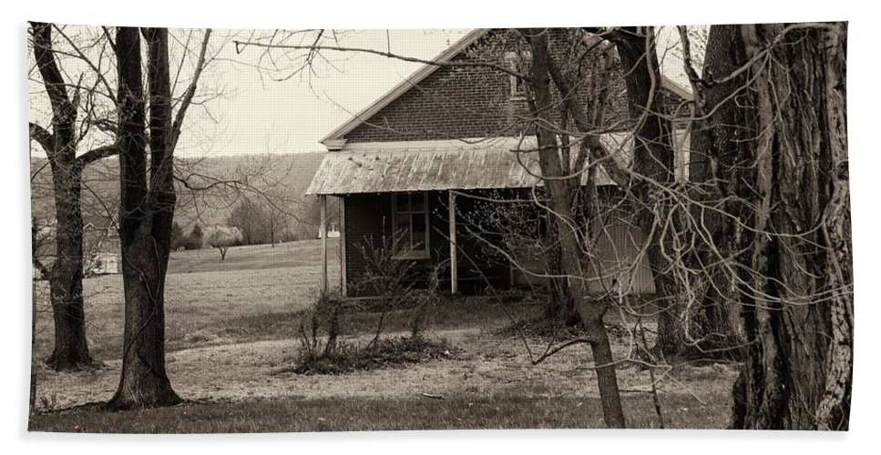 Black And White Bath Sheet featuring the photograph Little Red School House by Jay Ressler