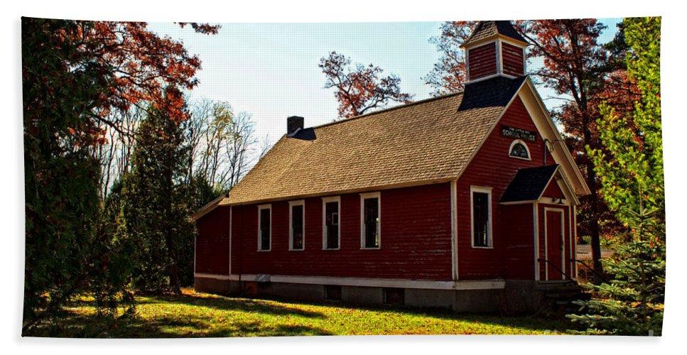 Wisconsin Hand Towel featuring the photograph Little Red School House by Ms Judi
