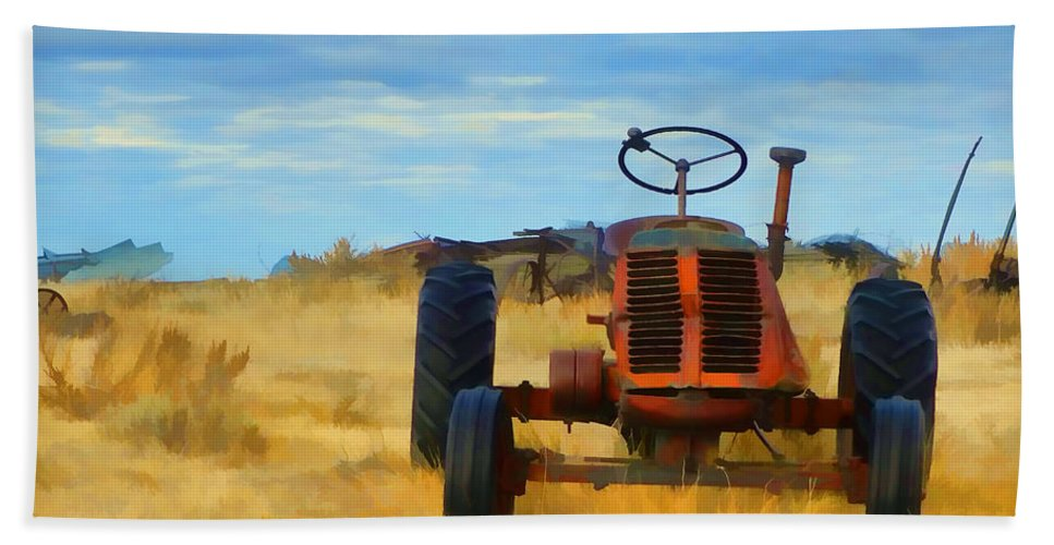 Tractor Hand Towel featuring the photograph Little Red Tractor 4 by Cathy Anderson