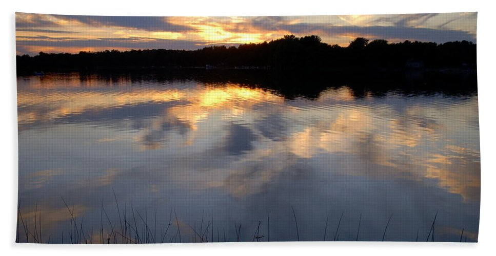 Sunsets Bath Sheet featuring the photograph Little Silver Lake Sunset by Terri Waselchuk