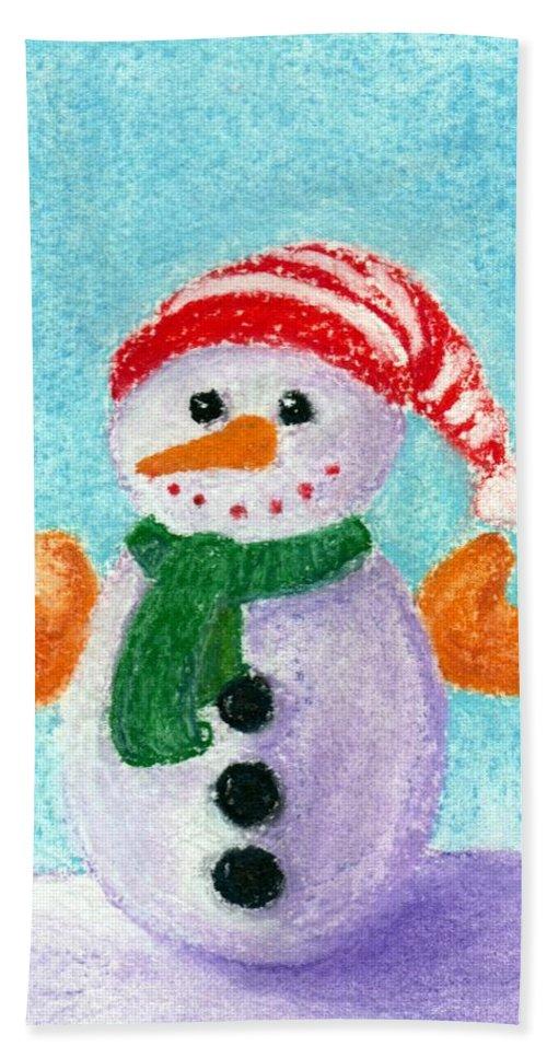 Decorative Hand Towel featuring the painting Little Snowman by Anastasiya Malakhova