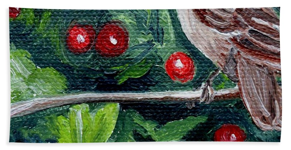 Bird Hand Towel featuring the painting Little Sparrow In The Holly by Julie Brugh Riffey