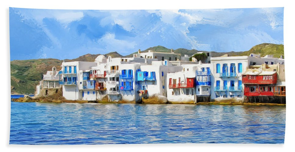 Waterfront At Mykonos Bath Sheet featuring the painting Little Venice On Mykonos by Dominic Piperata
