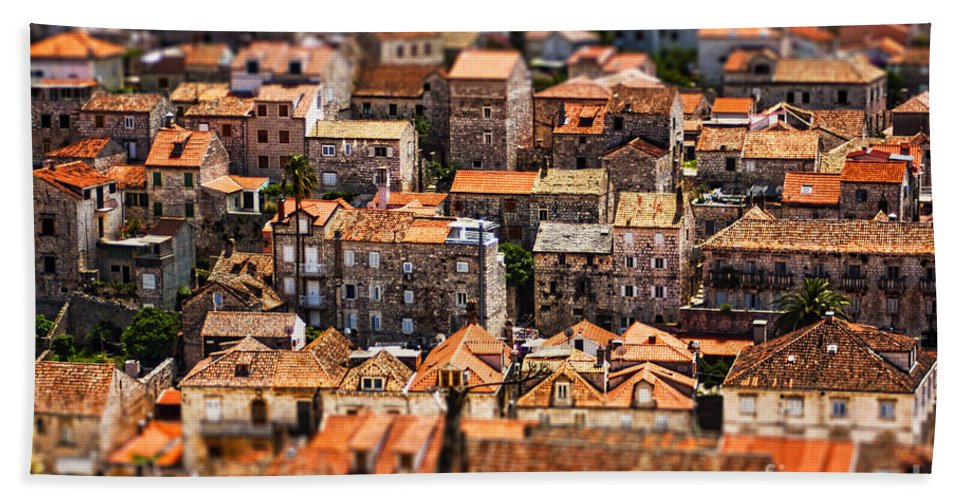 Aerial Bath Sheet featuring the photograph Little Village by Andrew Paranavitana