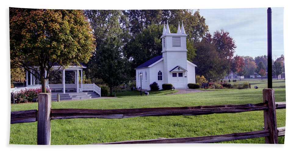 Immanuel Lutheran Church Bath Sheet featuring the photograph Little Village Chapel Of The Immanuel Lutheran Church by Paul Cannon