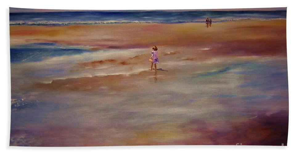 Child Hand Towel featuring the painting Little Wanderer by Sandy Ryan