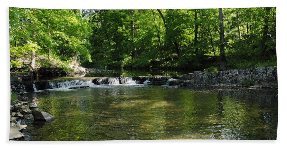Little Hand Towel featuring the photograph Little Waterfall At Green Lane Pa. by Bill Cannon