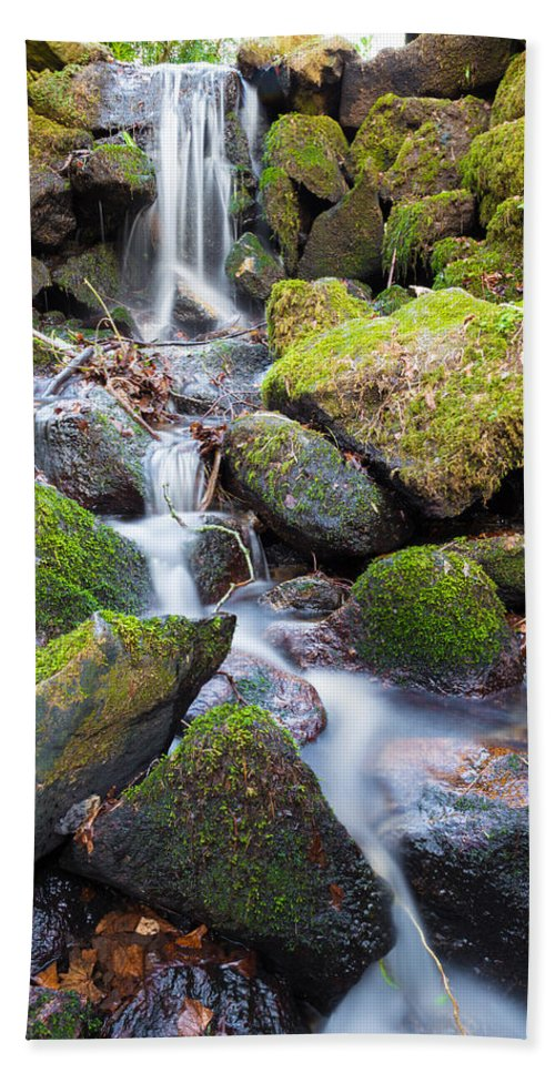 Dublin Hand Towel featuring the photograph Little Waterfall In Marlay Park by Semmick Photo
