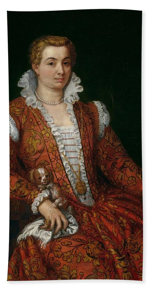 1570-1572 Hand Towel featuring the painting Livia Colonna by Paolo Veronese