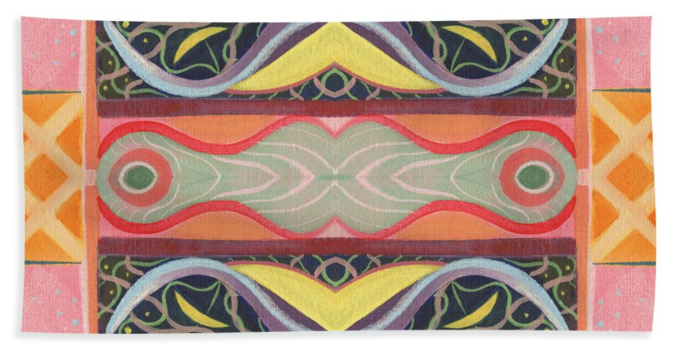 Abstract Hand Towel featuring the digital art Living In The Pink 1 - Tjod X V I Arrangement by Helena Tiainen