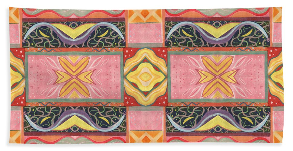Symmetry Hand Towel featuring the digital art Living In The Pink 2 - Tjod X V I Arrangement by Helena Tiainen