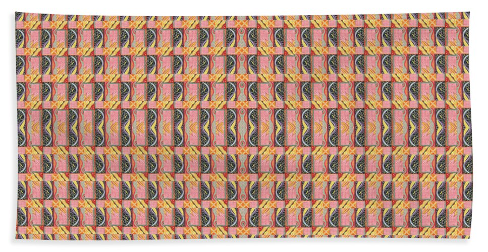 Symmetry Hand Towel featuring the digital art Living In The Pink - Tile Arrangement 1 by Helena Tiainen