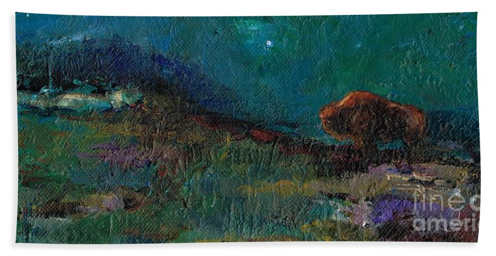 Buffalo Hand Towel featuring the painting Living On The Edge by Frances Marino