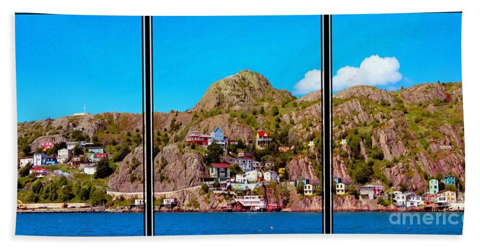 Living On The Edge Of The Battery Painterly Triptych Hand Towel featuring the photograph Living On The Edge Of The Battery Painterly Triptych by Barbara Griffin