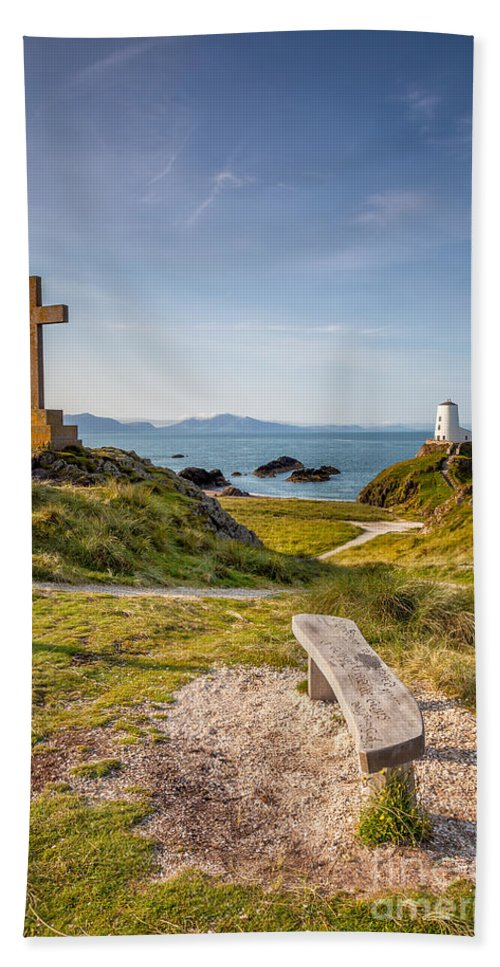 Anglesey Bath Sheet featuring the photograph Llanddwyn Island Bench by Adrian Evans