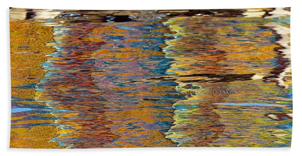 Abstract Hand Towel featuring the photograph Lobster Trap Reflections by Stuart Litoff