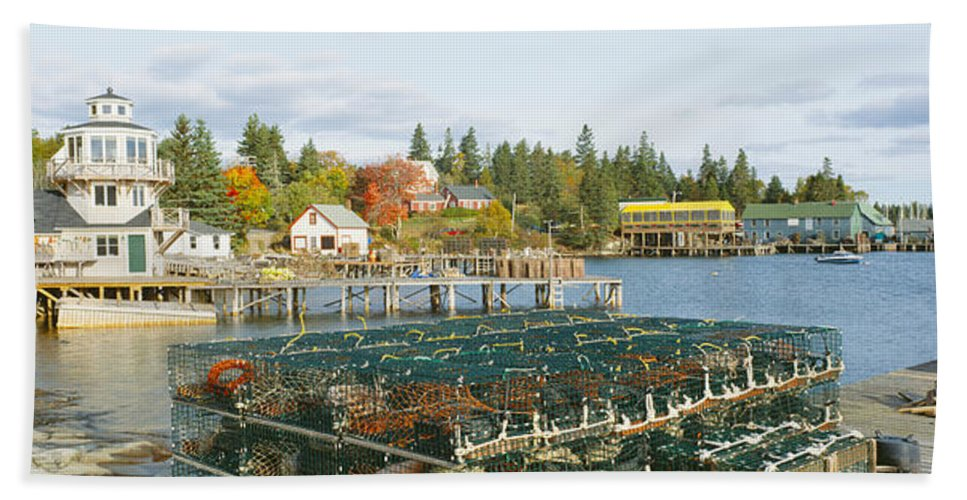 Photography Hand Towel featuring the photograph Lobster Village In Autumn, Southwest by Panoramic Images