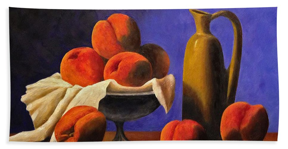 Peaches Hand Towel featuring the photograph Local Peaches Oil Painting by Michael Saunders