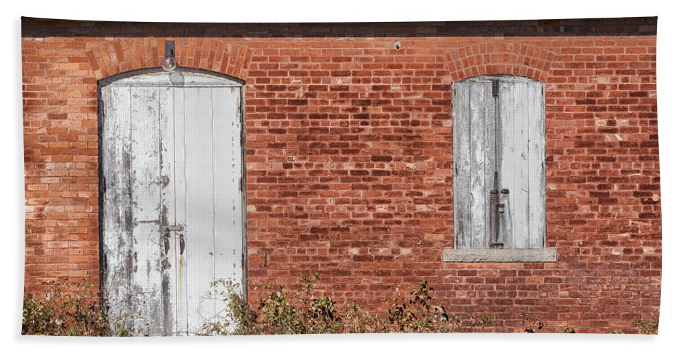 Door Bath Sheet featuring the photograph Locked And Shuttered by Debby Richards