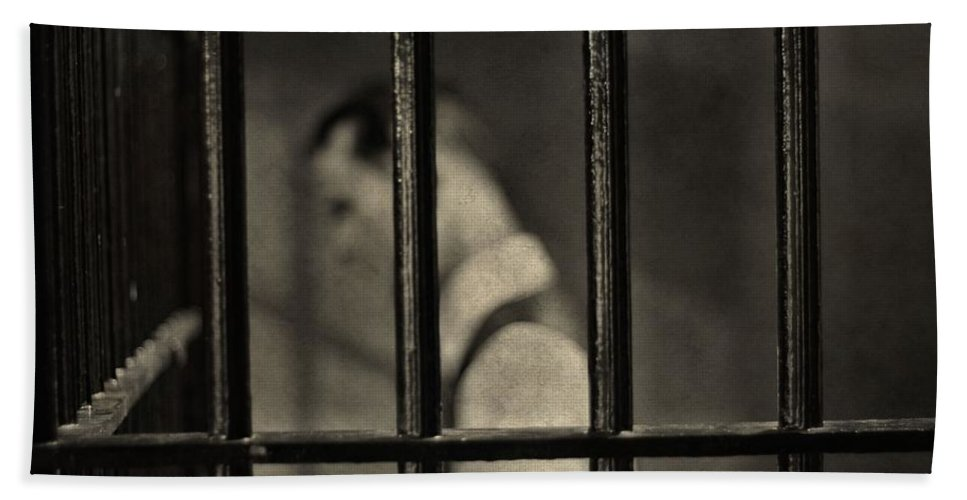 Behind Bars Bath Sheet featuring the photograph Locked Up Black And White by Dan Sproul
