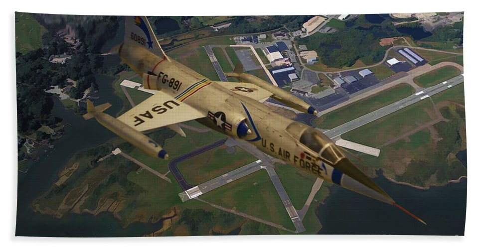 Lockheed F-104 Starfighter Bath Sheet featuring the digital art Lockheed F-104 Starfighter by Tommy Anderson