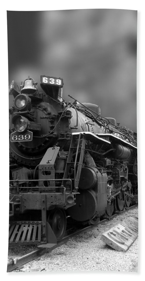 Train Hand Towel featuring the photograph Locomotive 639 Type 2 8 2 Front And Side View Bw by Thomas Woolworth
