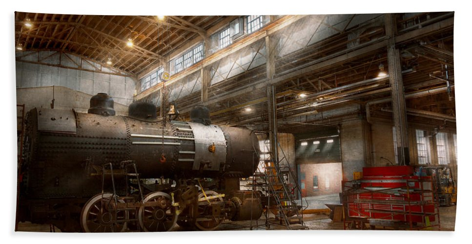 Train Bath Sheet featuring the photograph Locomotive - Locomotive Repair Shop by Mike Savad