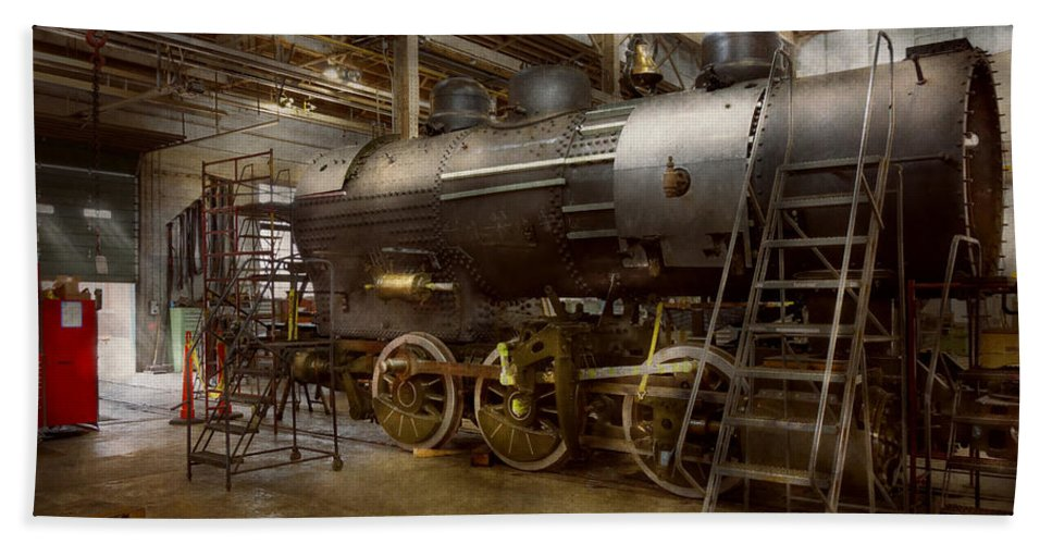 Train Bath Sheet featuring the photograph Locomotive - Repairing History by Mike Savad