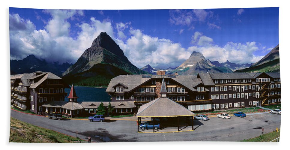 Photography Hand Towel featuring the photograph Lodge At Many Glacier, Glacier National by Panoramic Images