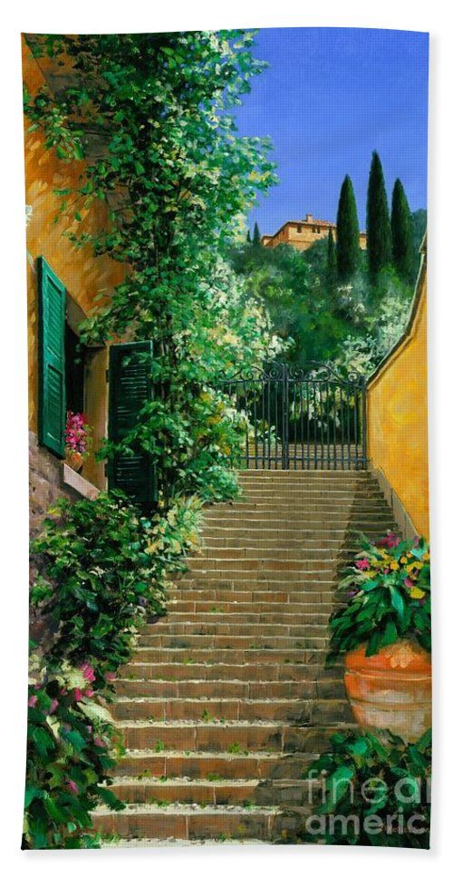 Bellagio Hand Towel featuring the painting Lofty Heights by Michael Swanson
