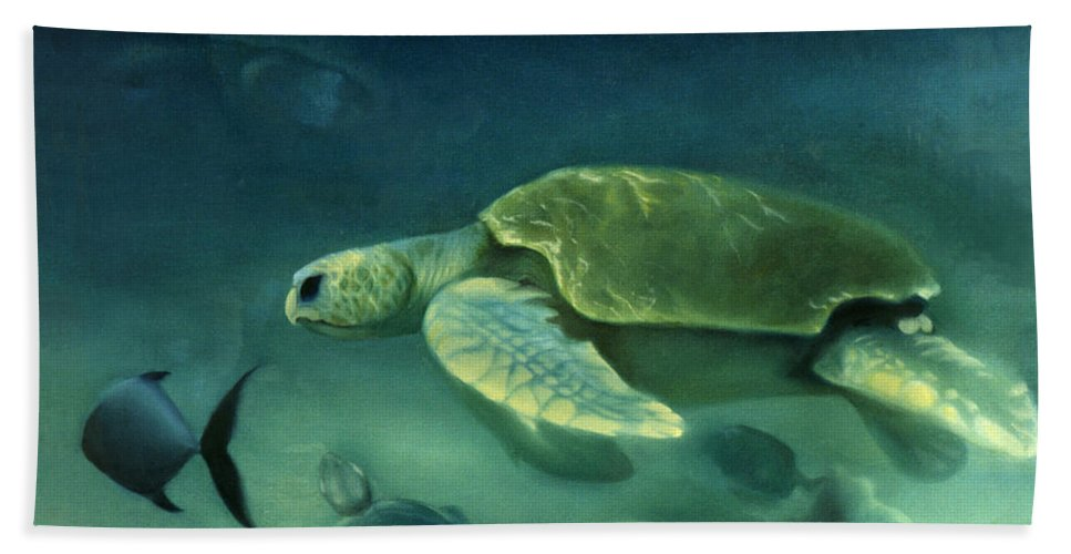 Loggerhead Turtles Bath Sheet featuring the painting Loggerhead Turtle by Anni Adkins