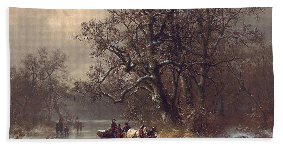 Rural Bath Sheet featuring the painting Loggers On A Frozen Waterway by Heinrich Hofer