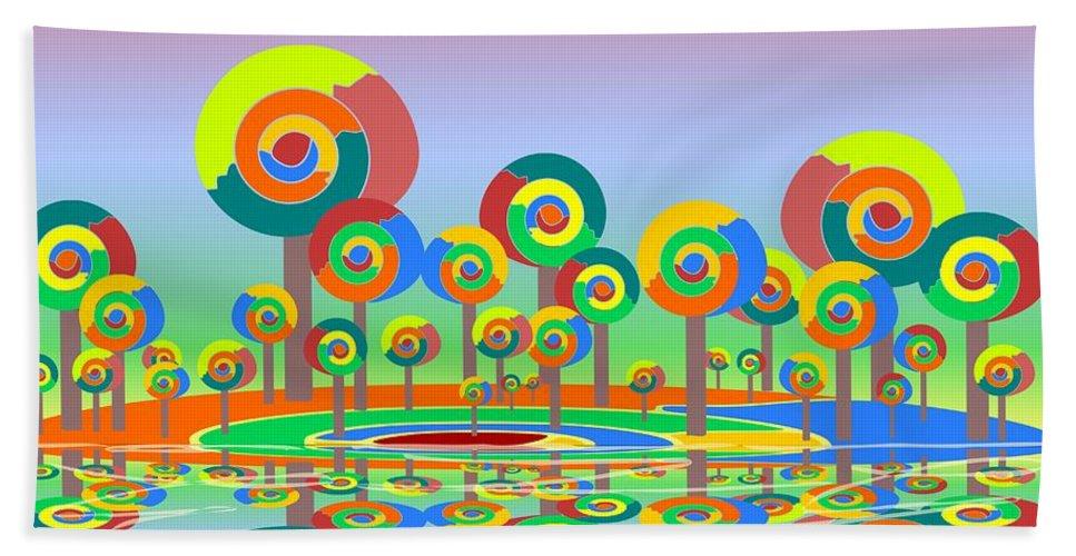 Malakhova Bath Towel featuring the digital art Lollypop Island by Anastasiya Malakhova