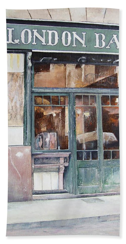 London Bath Towel featuring the painting London bar-Barcelona by Tomas Castano