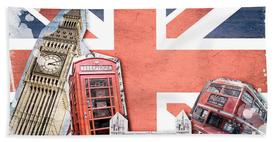 London Collage Bath Towel featuring the digital art London Collage by Delphimages Photo Creations