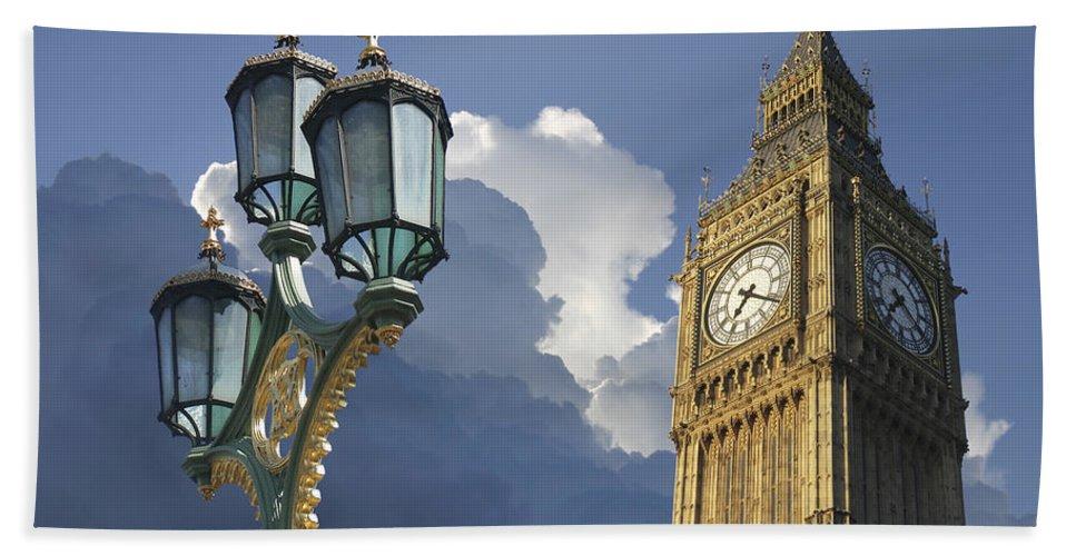 London Bath Towel featuring the digital art London Gas Lamp by Daniel Hagerman