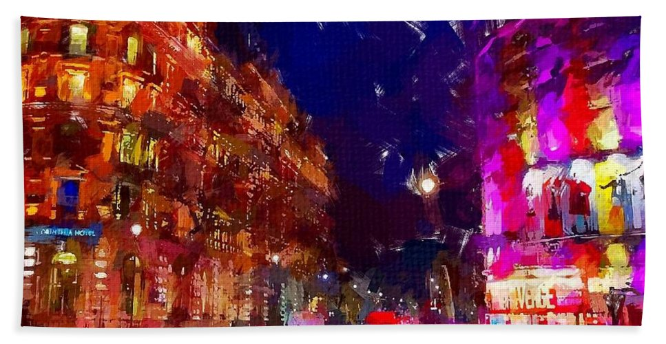 London Hand Towel featuring the painting London Night by Chris Butler