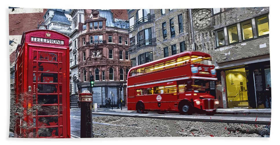 London Bath Towel featuring the digital art London Street Creation by Delphimages Photo Creations