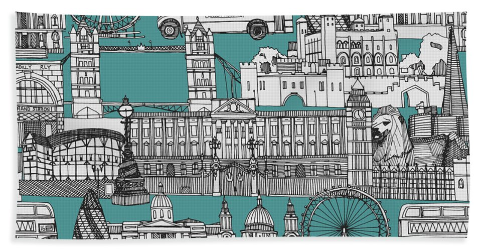 Includes The Tower Of London Bath Towel featuring the drawing London Toile Blue by MGL Meiklejohn Graphics Licensing