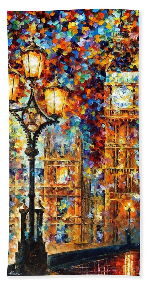 London's Dream - Palette Knife Architecture Oil Painting On Canvas By  Leonid Afremov Bath Towel