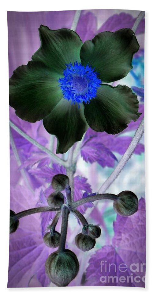Lone Flower 1 Hand Towel featuring the mixed media Lone Flower 1 by Chalet Roome-Rigdon