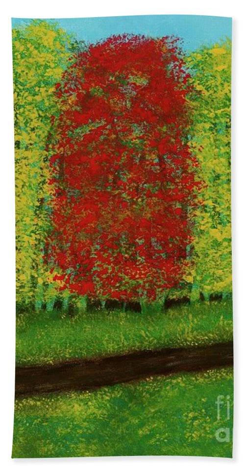 Landscape Bath Towel featuring the painting Lone Maple Among The Ashes by Hillary Binder-Klein