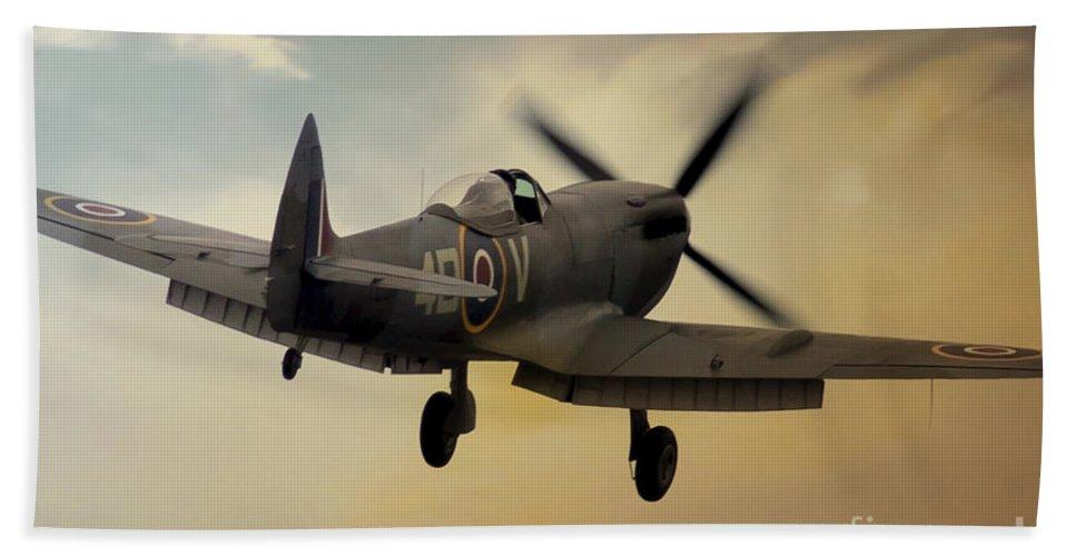 Raf Spitfire Bath Sheet featuring the digital art Lone Spitfire by J Biggadike