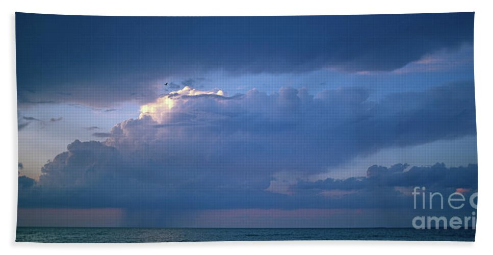 Panoramic Hand Towel featuring the photograph Lone Thunderstorm On Lake Erie by John Harmon