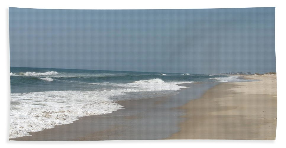 Beach Hand Towel featuring the photograph Lonely Beach On Cape Hatteras by Christiane Schulze Art And Photography