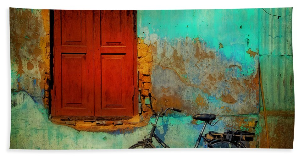 Myanmar Bath Sheet featuring the photograph Lonely Bicycle by Claude LeTien